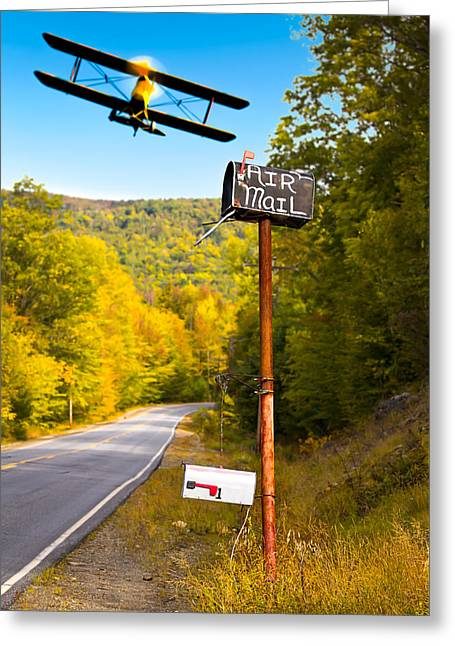 Rural Maine Roads Photographs Greeting Cards - Air Mail Delivery Maine Style Greeting Card by Bob Orsillo