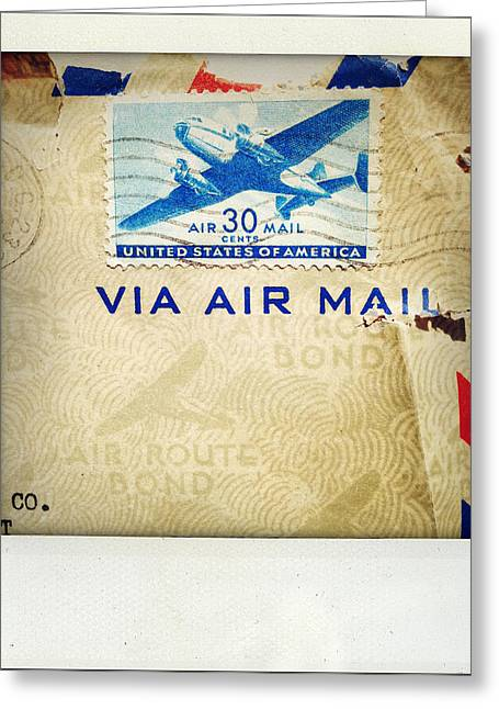 Postmarks Greeting Cards - Air mail Greeting Card by Les Cunliffe