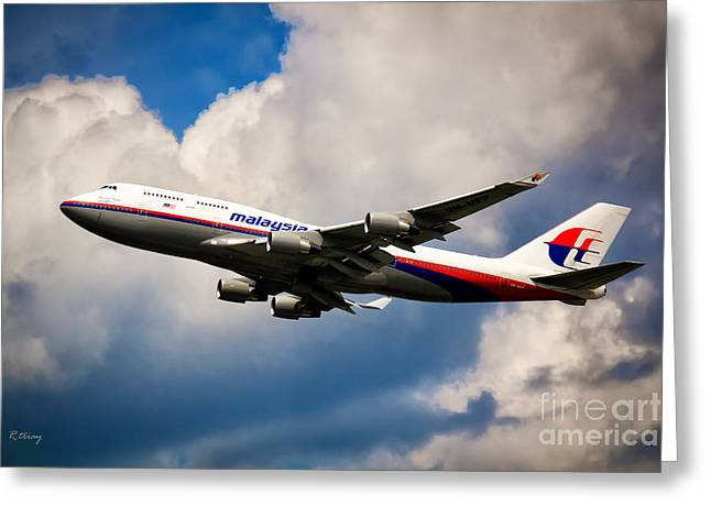 Retraction Greeting Cards - Malaysia Airlines B-747-400 Greeting Card by Rene Triay Photography