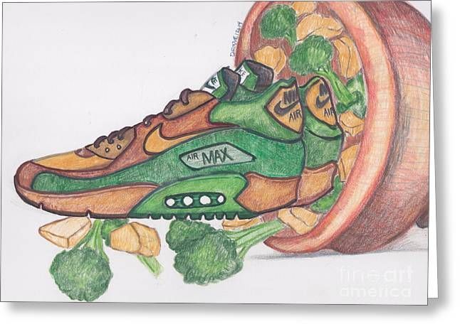 Broccoli Drawings Greeting Cards - Air Max 90 CNB Greeting Card by Dallas Roquemore