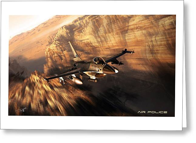 Iraq Prints Greeting Cards - Air Police Greeting Card by Peter Van Stigt
