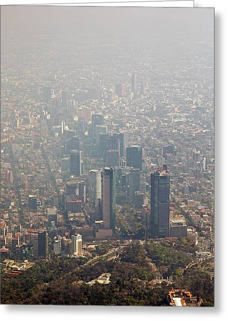 Air Pollution In Mexico City Greeting Card by Jim West