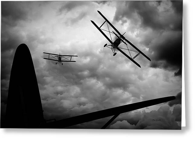 Biplane Greeting Cards - Air Pursuit Greeting Card by Bob Orsillo