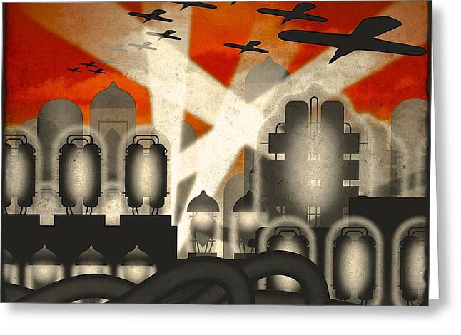 Night-scape Greeting Cards - Air Raid Greeting Card by Milton Thompson