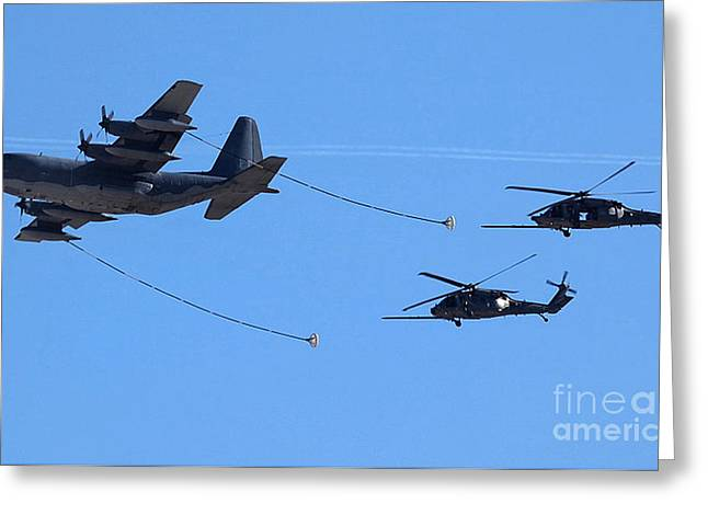 C-130 Hercules Greeting Cards - Air Refueling - U S A F Greeting Card by David Bearden