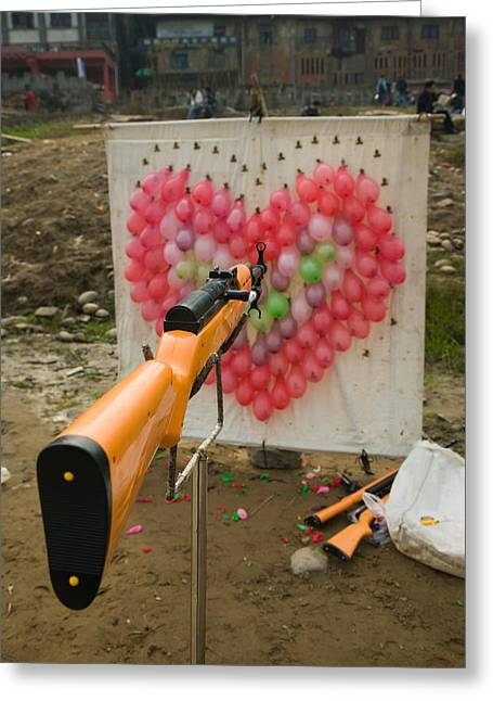 Valentines Day Greeting Cards - Air Rifle And Valentines Day Target Greeting Card by Panoramic Images