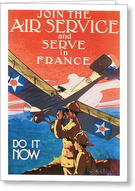 Patrotic Greeting Cards - Air Service  Vintage ww1 art  Greeting Card by Presented By American Classic Art