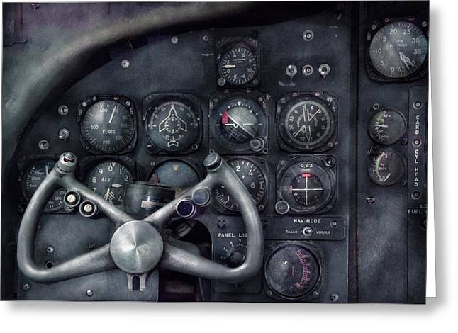 Flying Planes Greeting Cards - Air - The Cockpit Greeting Card by Mike Savad