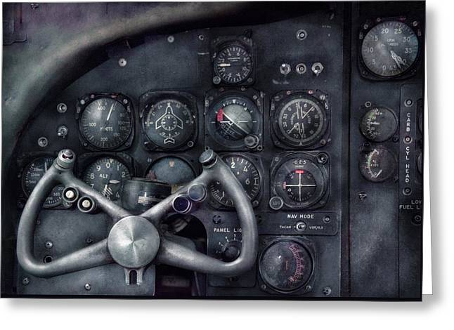 Nostalgic Greeting Cards - Air - The Cockpit Greeting Card by Mike Savad