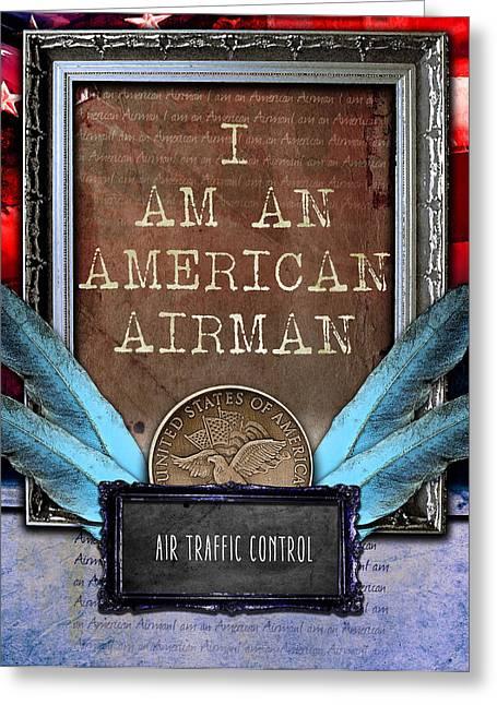 Traffic Control Digital Art Greeting Cards - Air Traffic Control --- American Airman Greeting Card by Reggie Saunders