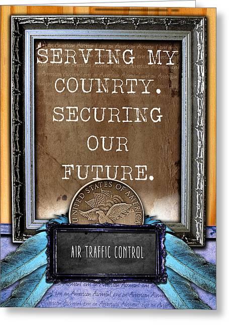 Traffic Control Digital Art Greeting Cards - Air Traffic Control --- Serving My Country Greeting Card by Reggie Saunders