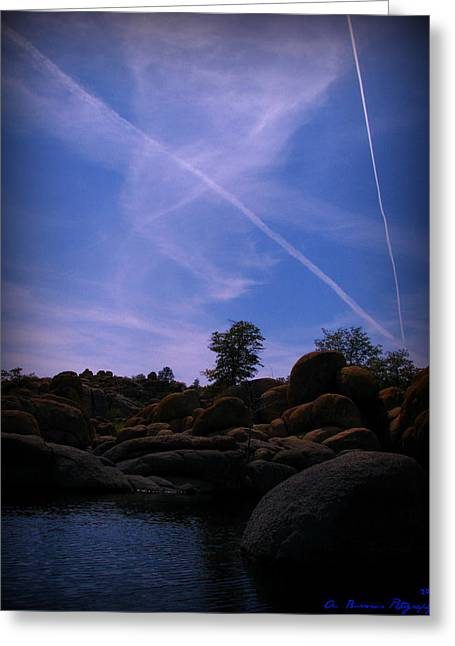 Watson Lake Greeting Cards - Air Traffic Over the Lake Greeting Card by Aaron Burrows