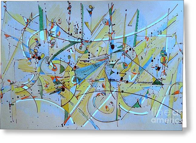 Geometric Art Greeting Cards - Air Travel Greeting Card by Nancy Kane Chapman