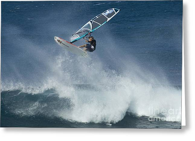 Surfing Photos Greeting Cards - Airborn In Hawaii Greeting Card by Bob Christopher