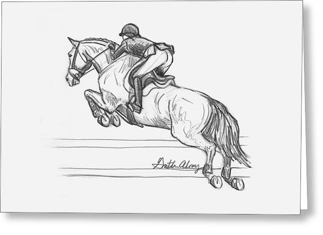 Dressage Drawings Greeting Cards - Airborne Greeting Card by Gretchen Almy