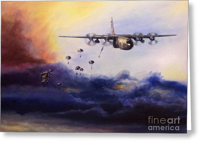 C-130 Greeting Cards - Airborne Jump Greeting Card by Stephen Roberson