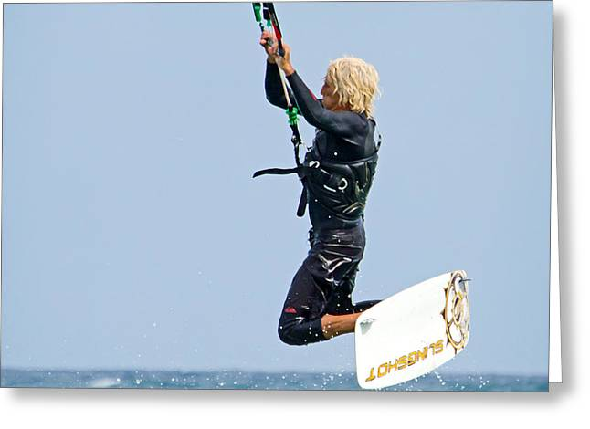 Kiteboarding Greeting Cards - Airborne Greeting Card by Keith Armstrong