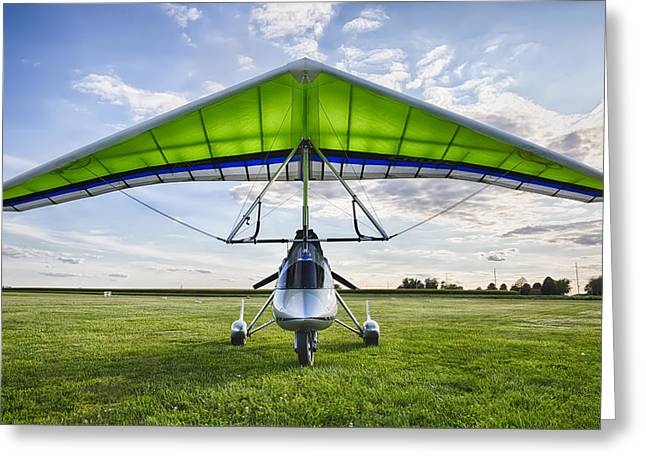 Glider Greeting Cards - Airborne XT-912 Microlight Trike Greeting Card by Adam Romanowicz