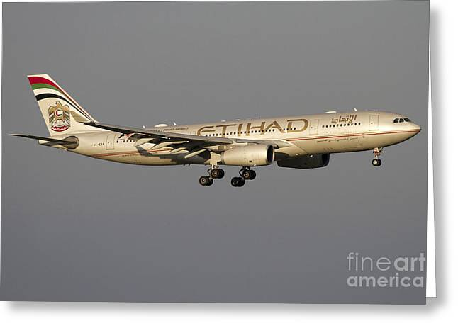 Airbus Greeting Cards - Airbus 330-200 Of Etihad Airways Greeting Card by Luca Nicolotti