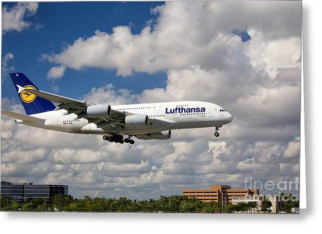 Lufthansa Greeting Cards - Airbus A-380-800 Lufthansa Greeting Card by Rene Triay Photography