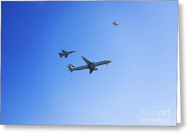 Commercial Airplane Greeting Cards - Airbus A320 and 2 F-16 Greeting Card by Stefano Senise