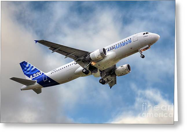 Recently Sold -  - Civil Greeting Cards - Airbus A320 Greeting Card by Steve H Clark Photography