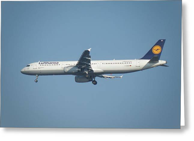 Lufthansa Greeting Cards - Airbus A321-300 Greeting Card by Ted Denyer