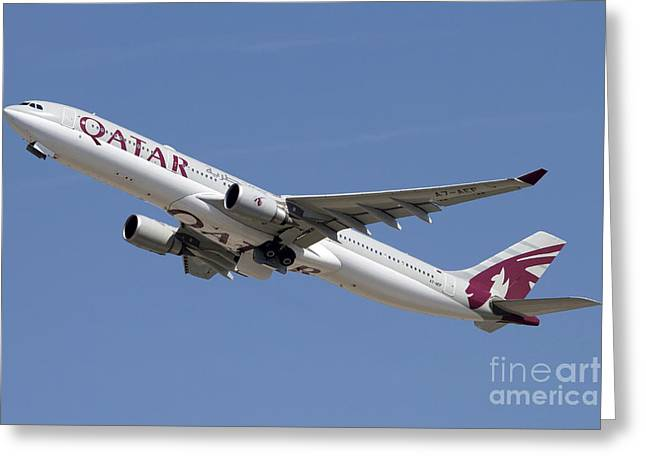 Airways Greeting Cards - Airbus A330-300 Of Qatar Airways Greeting Card by Luca Nicolotti