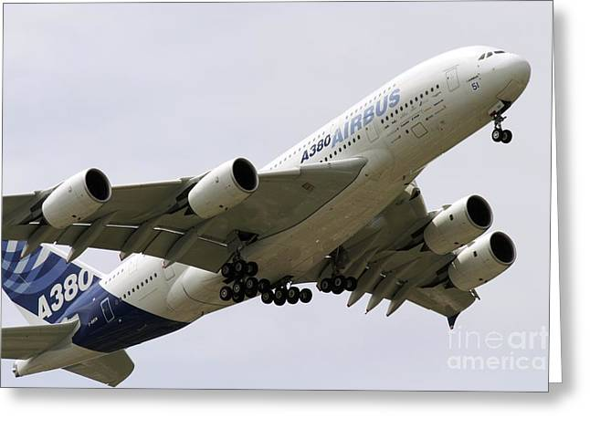 A380 Greeting Cards - Airbus A380 In Flight Greeting Card by Andrew Wheeler