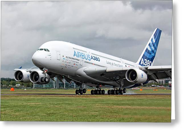 A380 Greeting Cards - Airbus A380 Landing Greeting Card by Shirley Mitchell