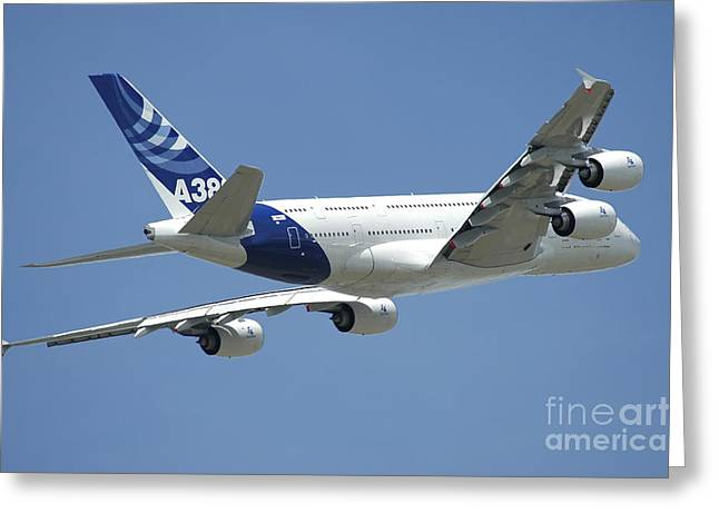 A380 Greeting Cards - Airbus A380 Prototype In Flight Greeting Card by Riccardo Niccoli