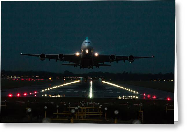 A380 Greeting Cards - Airbus A380 take-off at dusk Greeting Card by Tim Beach