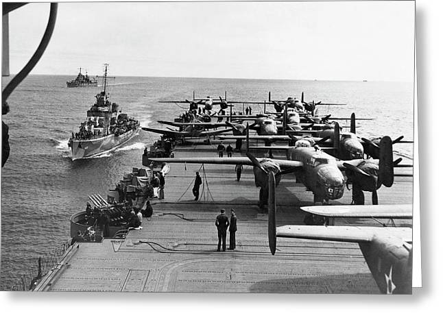 Aircraft Carrier Uss Hornet Greeting Card by Us Air Force