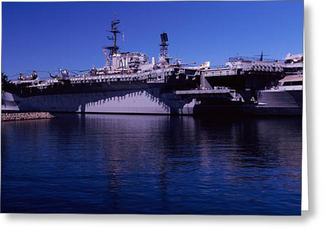 Aircraft Carrier Greeting Cards - Aircraft Carriers At A Museum, San Greeting Card by Panoramic Images