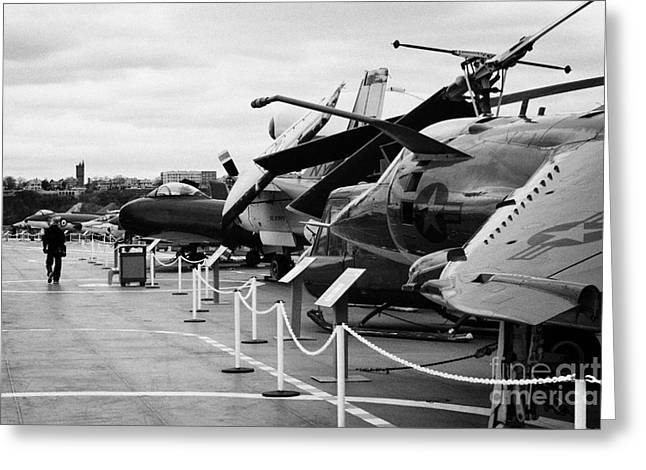 Aircraft In A Line On The Flight Deck Of The Uss Intrepid At The Intrepid Sea Air Space Museum Usa Greeting Card by Joe Fox