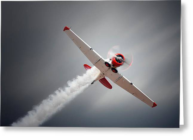 Smoke Trail Greeting Cards - Aircraft in flight Greeting Card by Johan Swanepoel