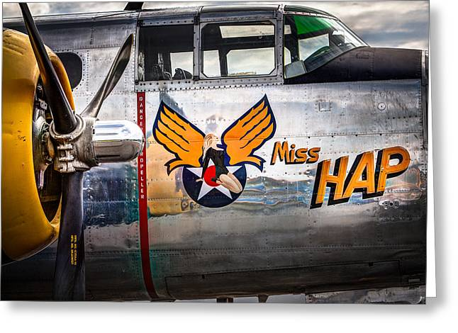 Old Aircraft Greeting Cards - Aircraft Nose Art - Pinup Girl - Miss Hap Greeting Card by Gary Heller