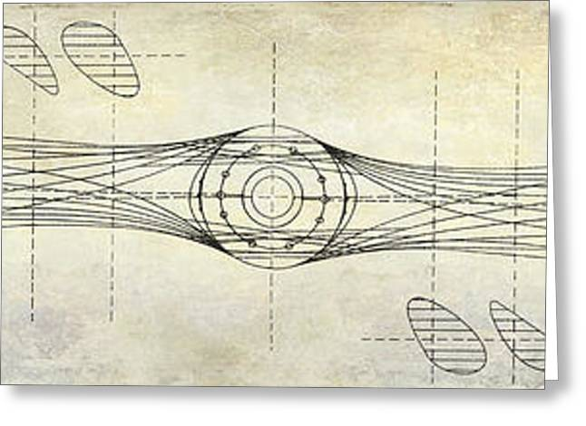 Old Airplane Greeting Cards - Aircraft Propeller Blueprint Drawing Greeting Card by Jon Neidert