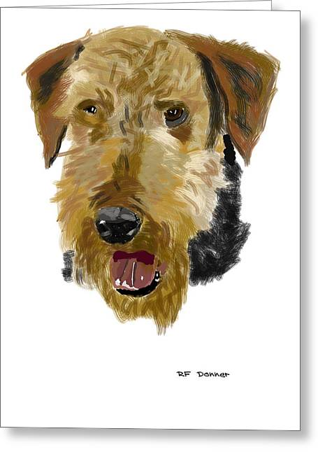 Owner Digital Greeting Cards - Airedale Greeting Card by Bob Donner
