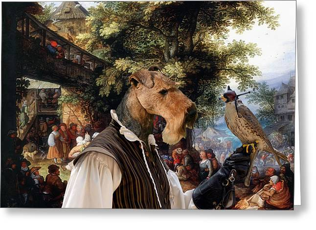 Airedale Terrier Greeting Cards - Airedale Terrier Art - Village Dance with Falconer Greeting Card by Sandra Sij
