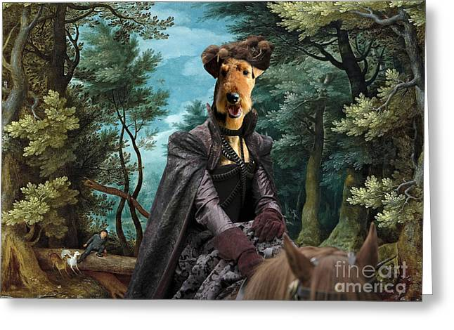 Airedale Terrier Greeting Cards - Airedale Terrier Art Canvas Print - Forest landscape with deer hunting and Noble Lady Greeting Card by Sandra Sij