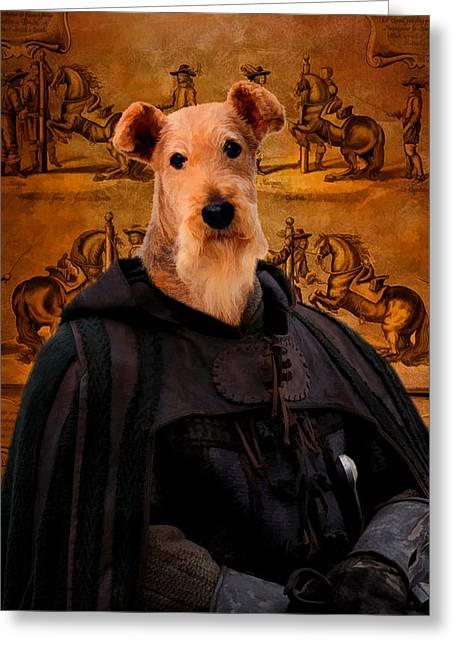 Airedale Terrier Greeting Cards - Airedale Terrier Art Canvas Print - Knight Greeting Card by Sandra Sij