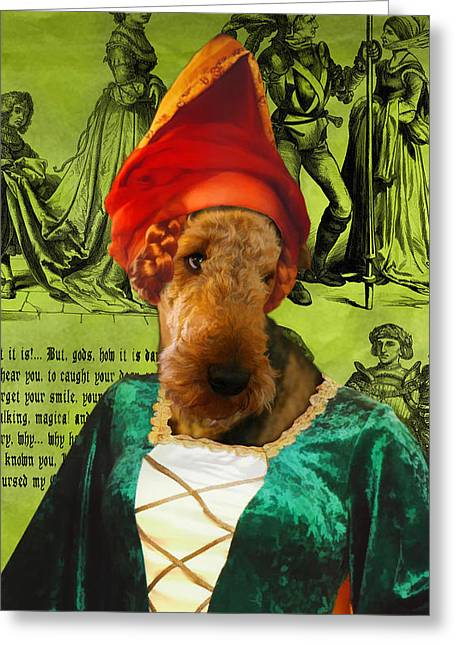 Airedale Terrier Greeting Cards - Airedale Terrier Art Canvas Print - Lady Greeting Card by Sandra Sij