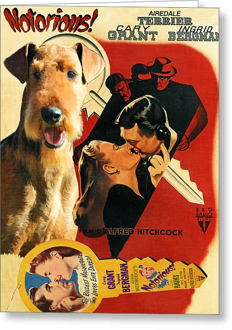 Airedale Terrier Greeting Cards - Airedale Terrier Art Canvas Print - Notorious Movie Poster Greeting Card by Sandra Sij