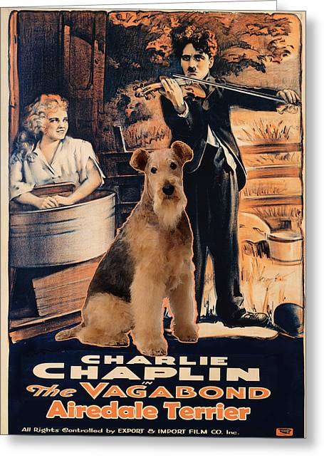 Airedale Terrier Greeting Cards - Airedale Terrier Art Canvas Print - The Vagabond Movie Poster Greeting Card by Sandra Sij
