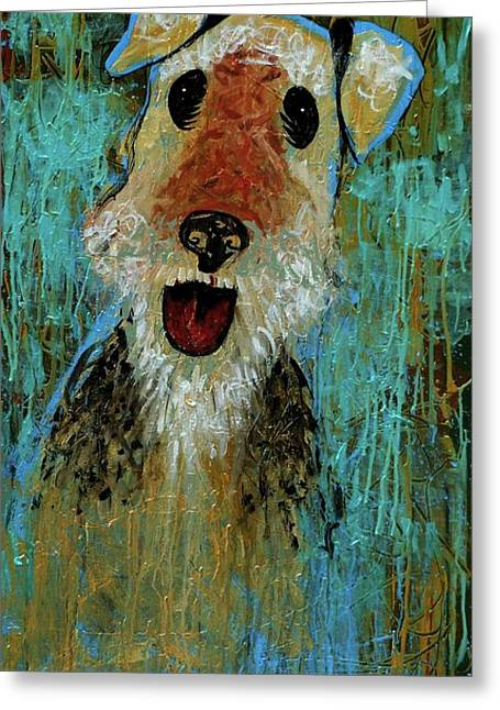 Airedale Terrier Greeting Cards - Airedale Terrier Greeting Card by Genevieve Esson