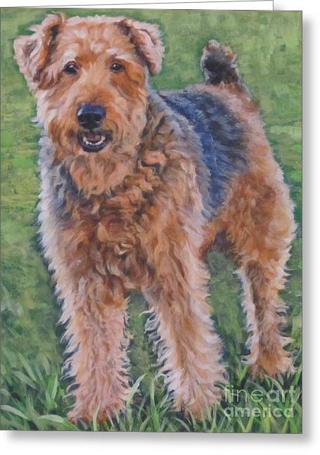 Airedale Terrier Greeting Cards - Airedale Terrier Greeting Card by Lee Ann Shepard