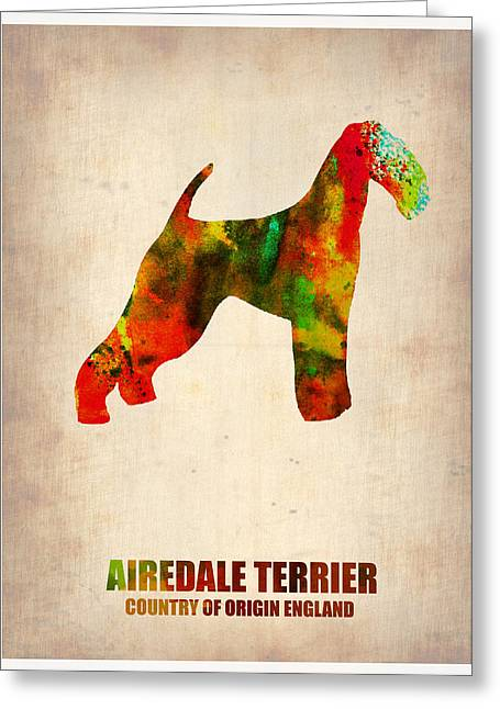 Puppies Paintings Greeting Cards - Airedale Terrier Poster Greeting Card by Naxart Studio