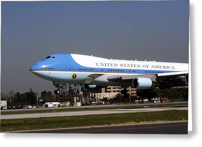 President Obama Greeting Cards - Airforce One Touchdown By Denise Dube Greeting Card by Denise Dube