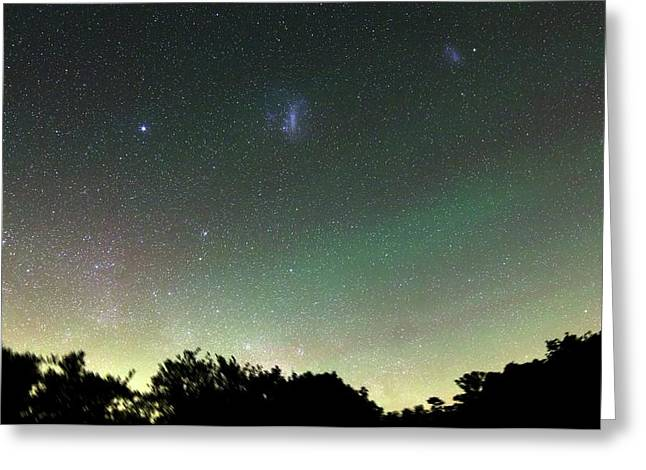 Airglow And Magellanic Clouds Greeting Card by Luis Argerich